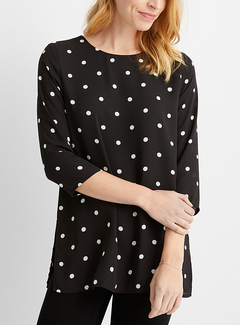 Contemporaine Patterned Black Dotted recycled-crepe straight tunic for women