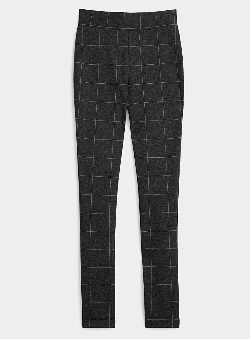 Ic?ne Patterned grey  Structured checkered jersey legging for women