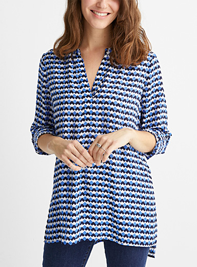 Patterned recycled crepe split-neck tunic