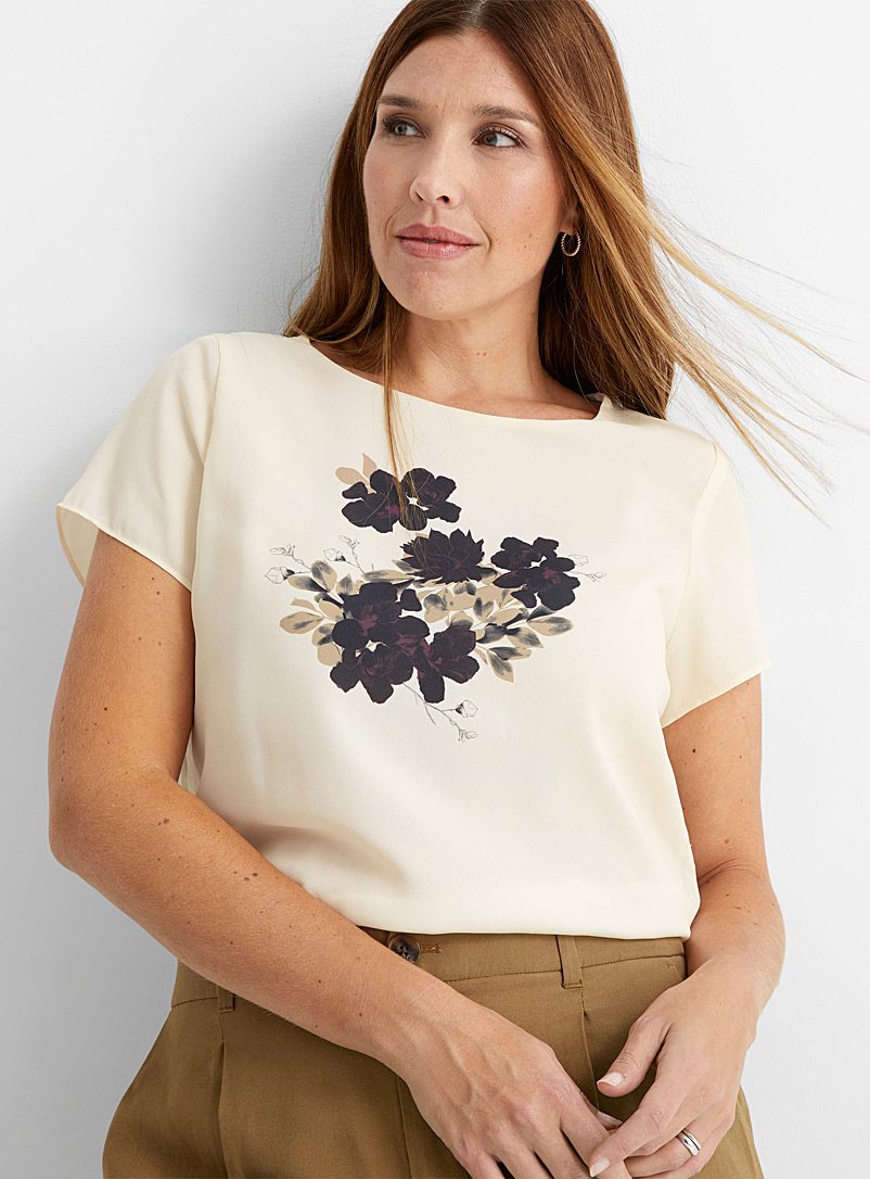 Contemporaine Patterned Ecru Silky front print tee for women