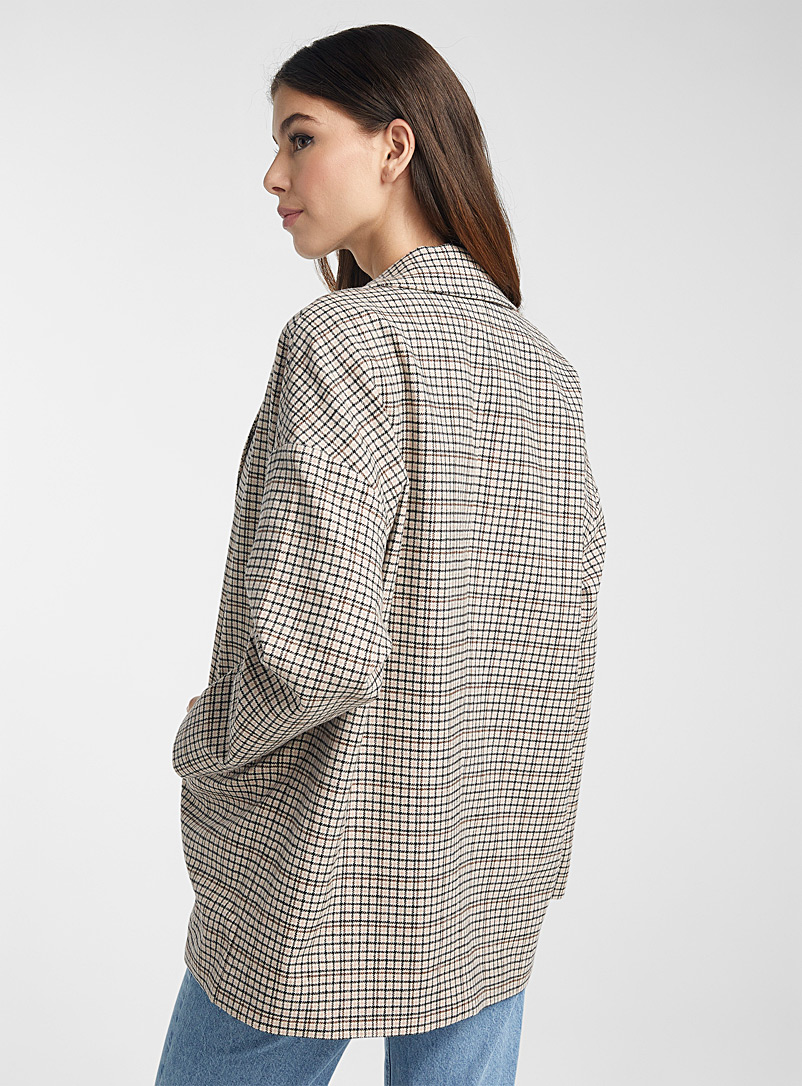 Icône Patterned Brown Casual check jacket for women
