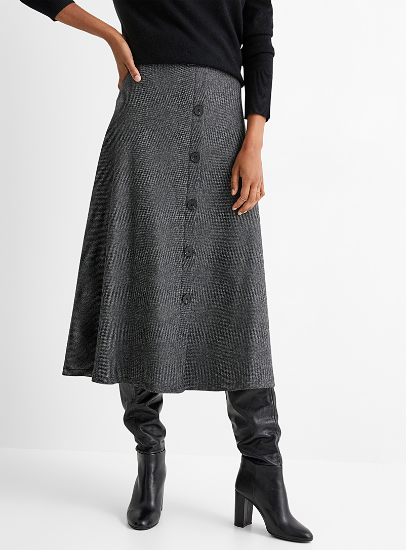 Contemporaine Patterned Black Micro-pattern wool buttoned skirt for women