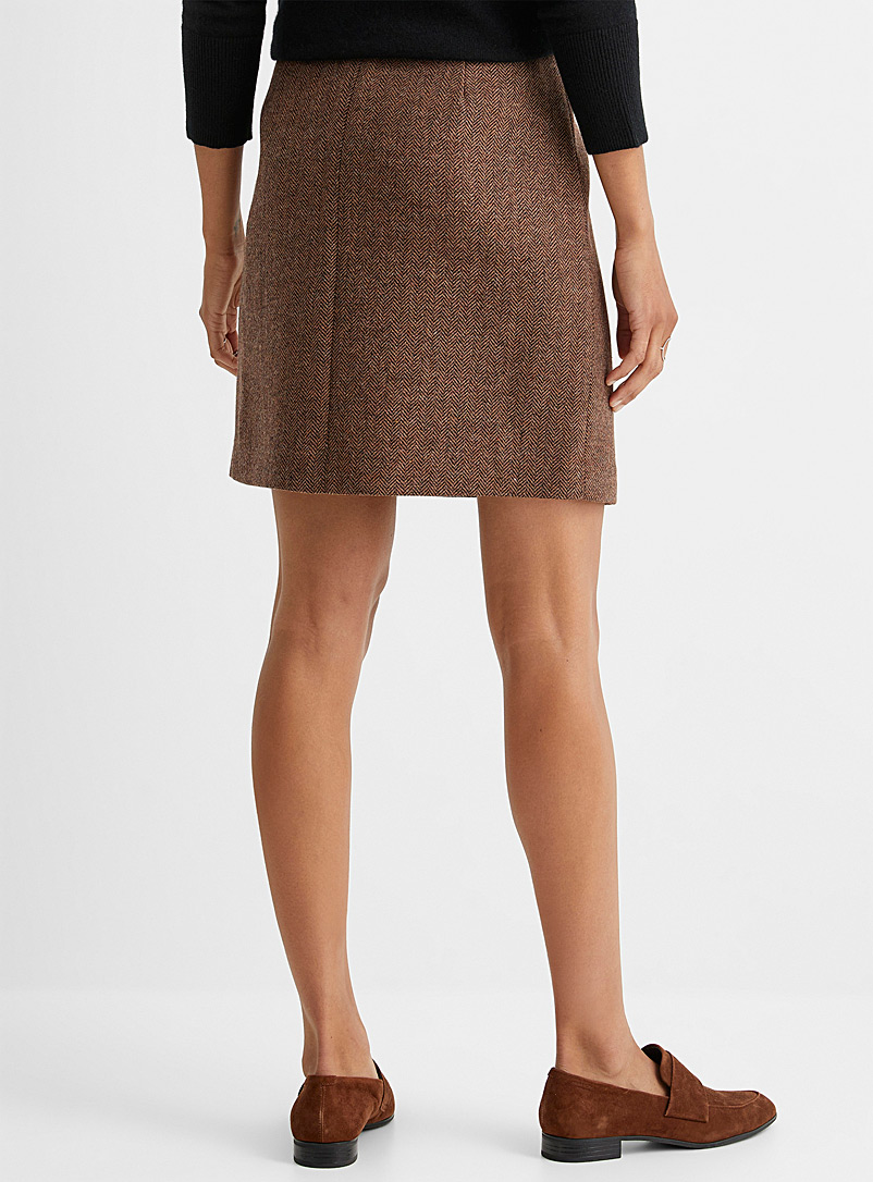 Contemporaine Patterned Brown Herringbone wool buttoned skirt for women