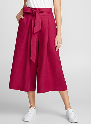 Pure linen belted culottes