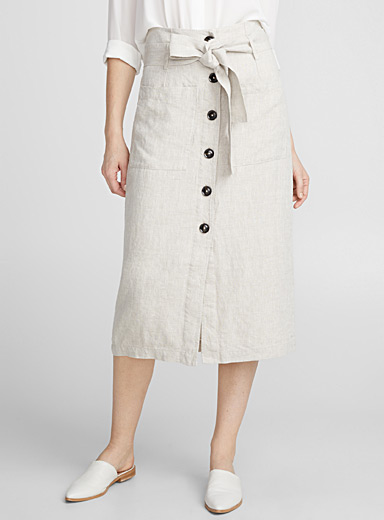 Pure linen belted buttoned skirt