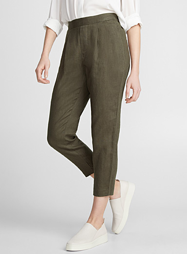 Pure linen semi-slim pant