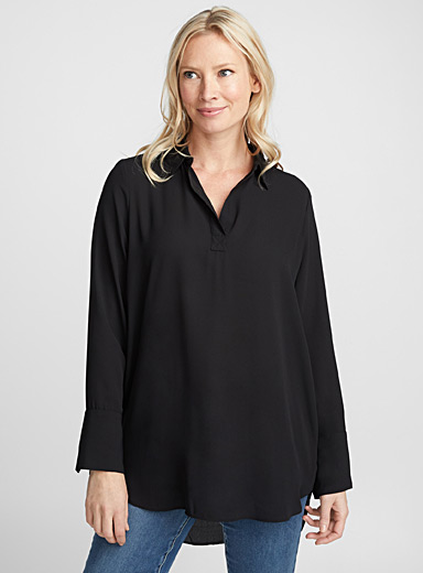 Johnny-collar fluid tunic