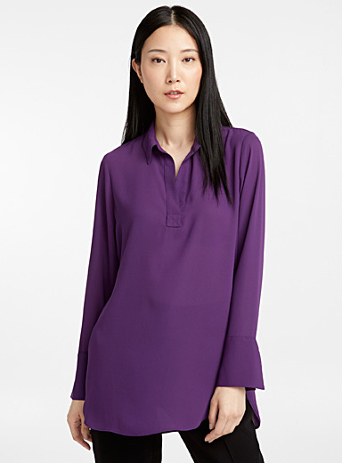 Recycled crepe Johnny-collar tunic