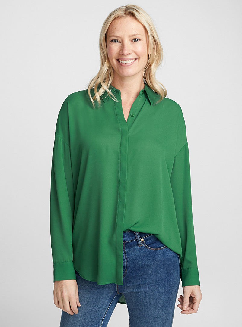 Fluid loose blouse - Shirts - Kelly Green