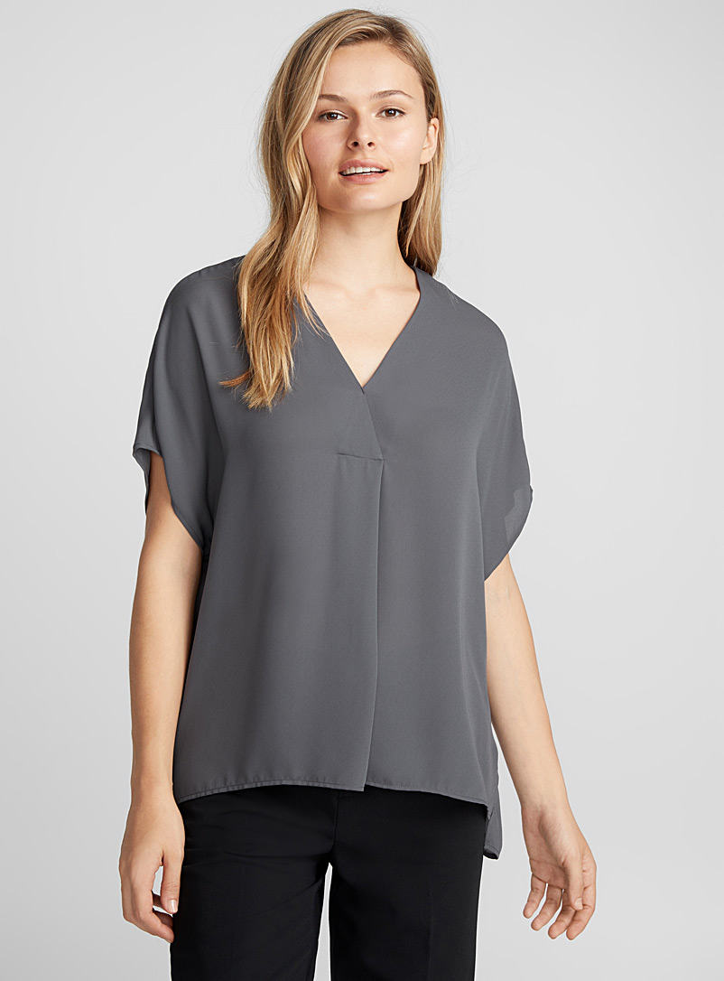 Fluid crepe loose V-neck blouse - Blouses - Charcoal