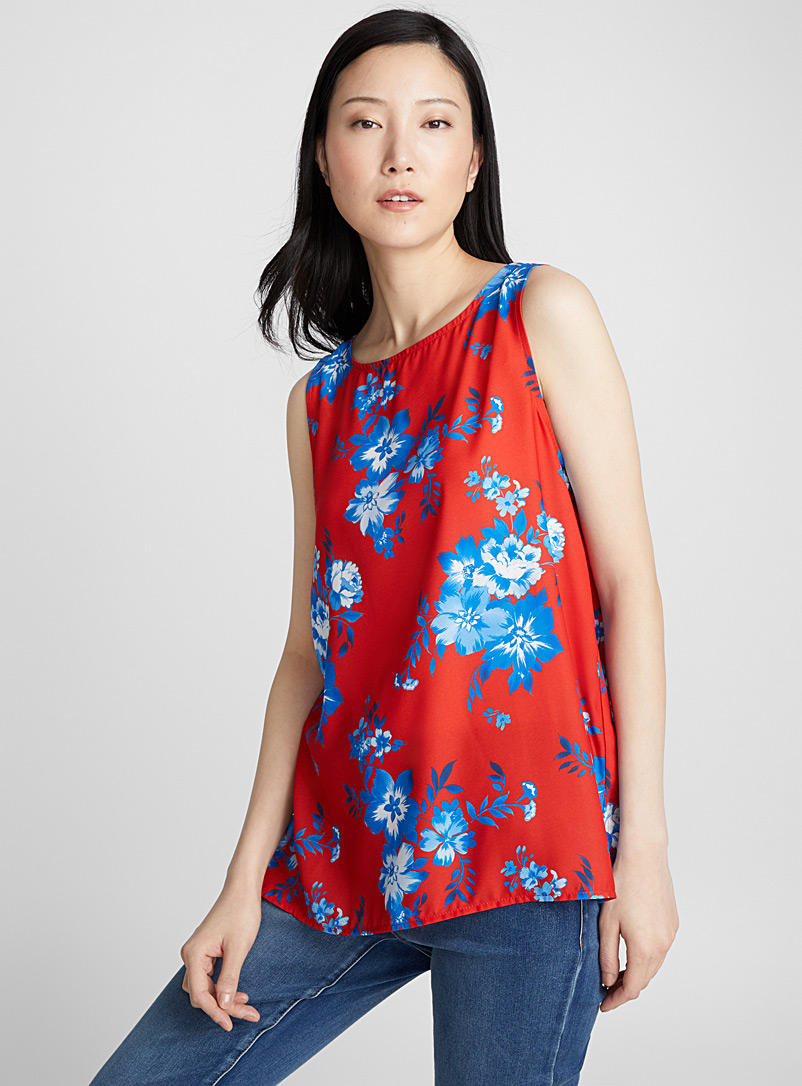 Printed fluid crepe camisole - Blouses - Patterned Red