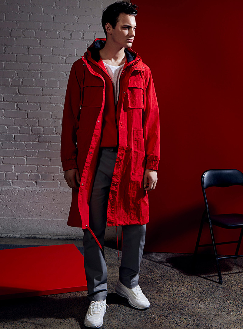 Le 31 Red Long modern utility parka for men