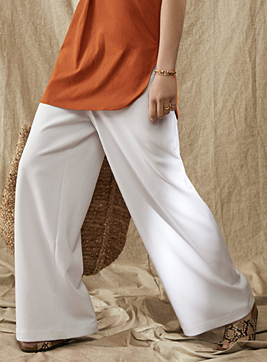 Accent-zip wide-leg twill pant