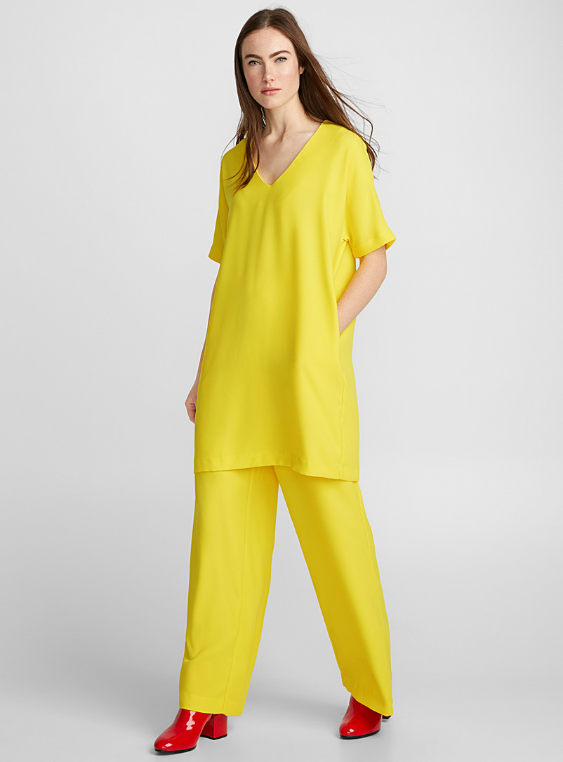 Loose crepe dress - Straight - Bright Yellow