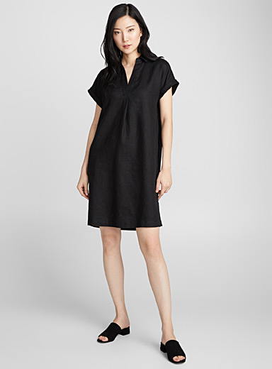 Loose pure linen Johnny-collar dress