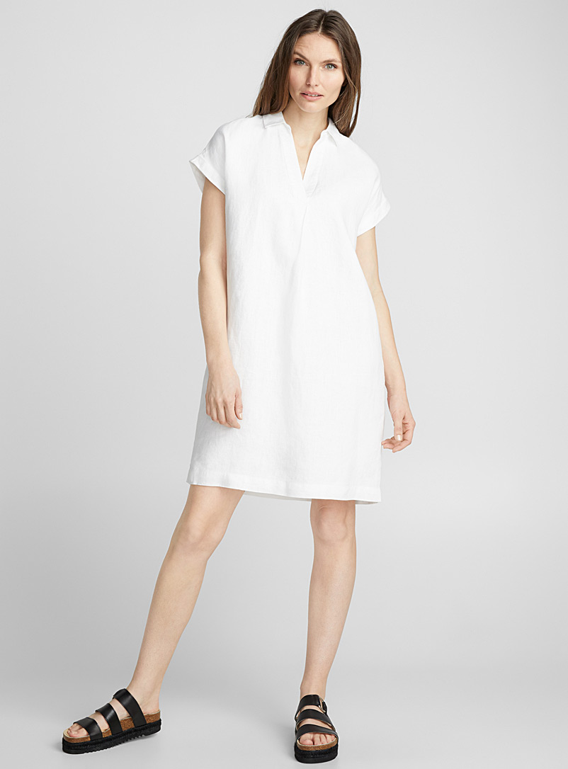 Loose pure linen Johnny-collar dress - Straight - White