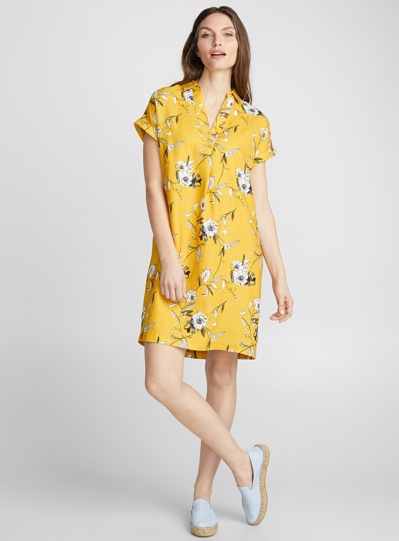 Loose pure linen Johnny-collar dress - Straight - Patterned Ecru