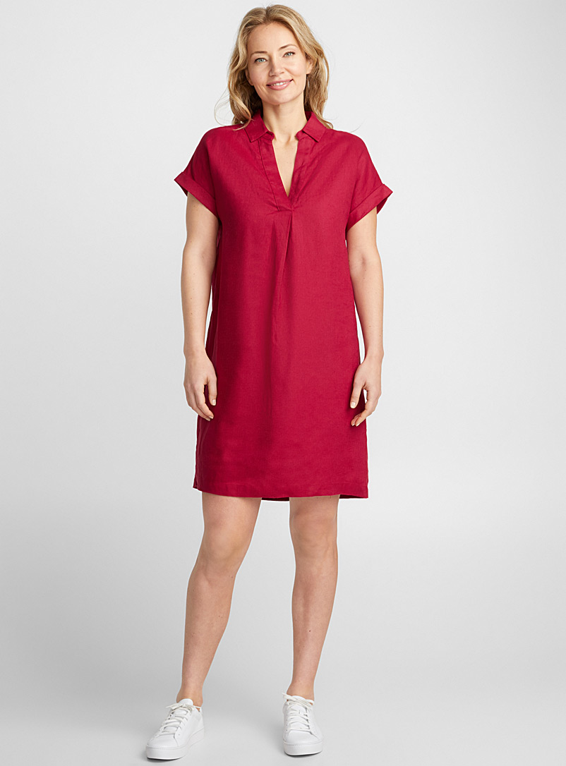 Loose pure linen Johnny-collar dress - Straight - Cherry Red