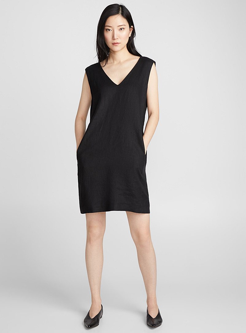 Minimalist pure linen dress - Straight - Black