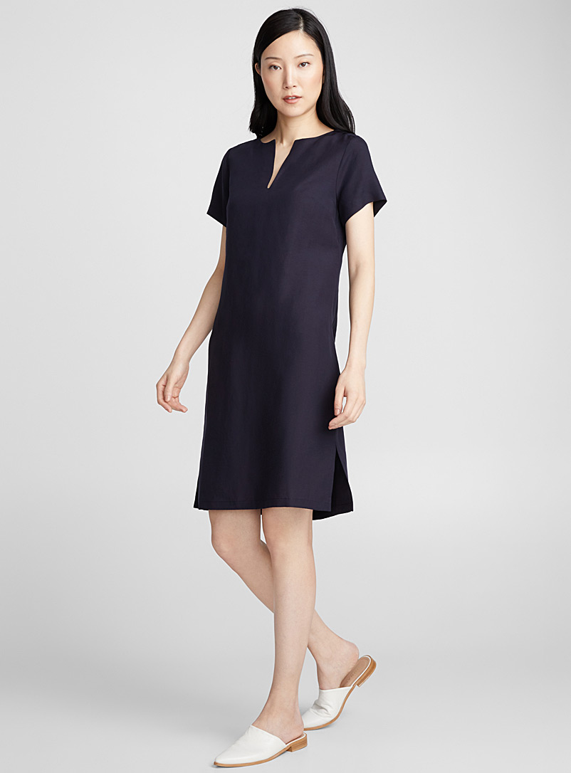 Lyocell-linen minimalist shift dress - Straight - Marine Blue
