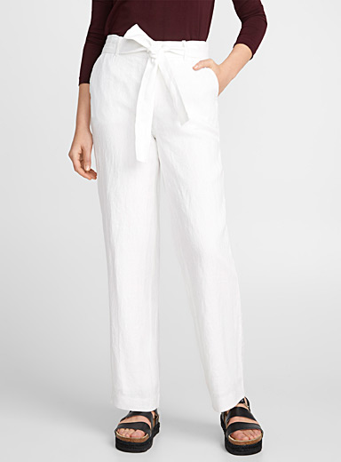Wide-leg pure linen belted pant