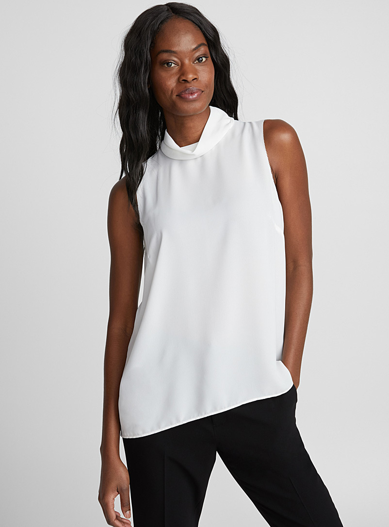 Draped mock-neck camisole - Blouses - Ivory White
