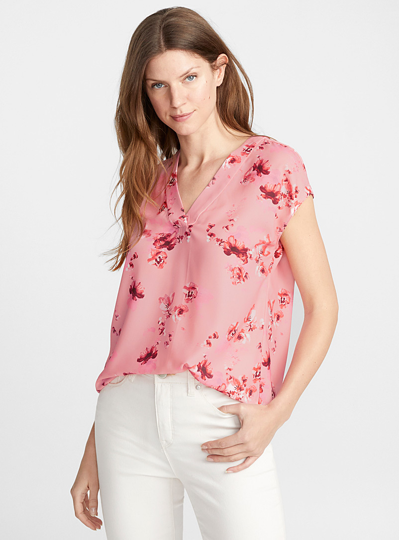 Loose printed crepe blouse - Blouses - Patterned Red