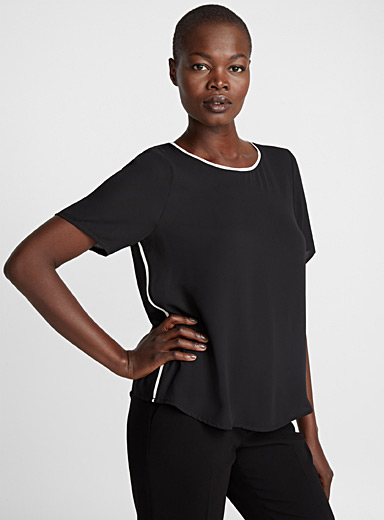 Contrast trim fluid blouse