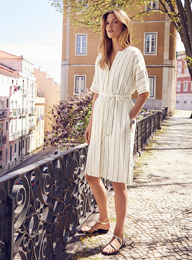 Pure linen belted striped dress - Shirt Dresses - Black and White