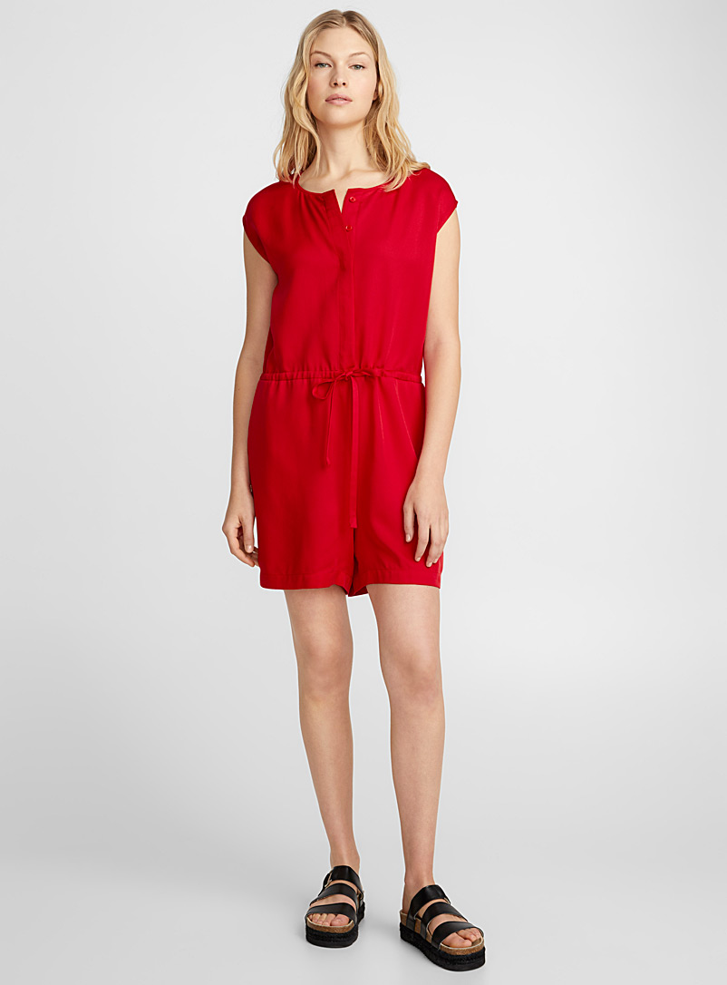 Lyocell tie-waist romper - Jumpsuits & Rompers - Bright Red