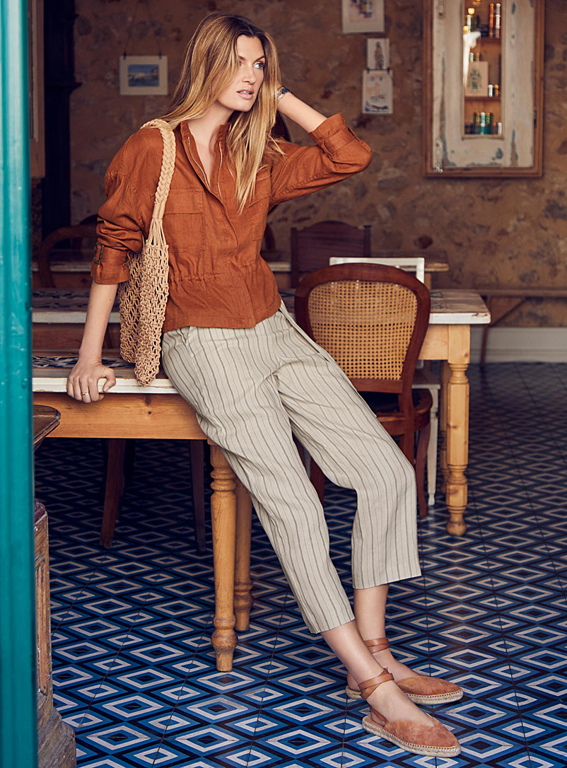 Striped pure linen pant - Straight - Sand