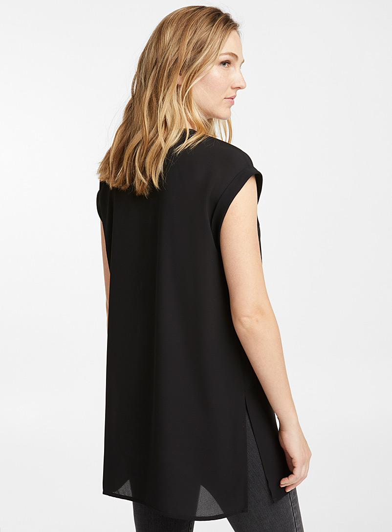 Recycled crepe cuffed sleeve tunic - Blouses - Black