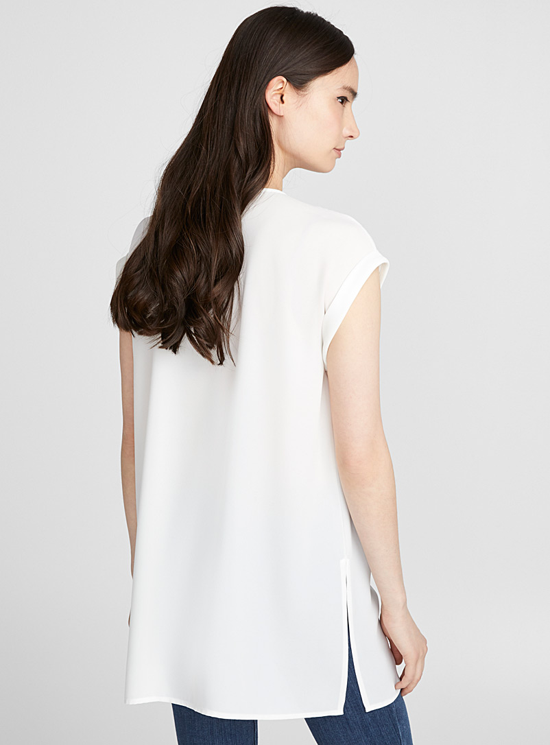 Recycled crepe cuffed sleeve tunic - Blouses - Ivory White