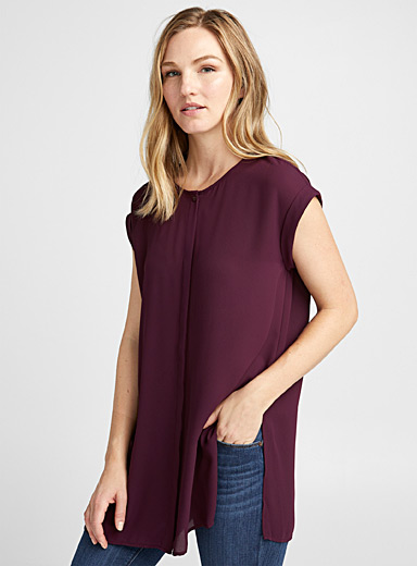 Recycled crepe cuffed sleeve tunic