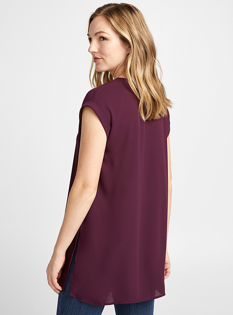 Contemporaine Black Recycled crepe cuffed sleeve tunic for women