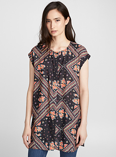 Printed recycled crepe cuffed sleeve blouse