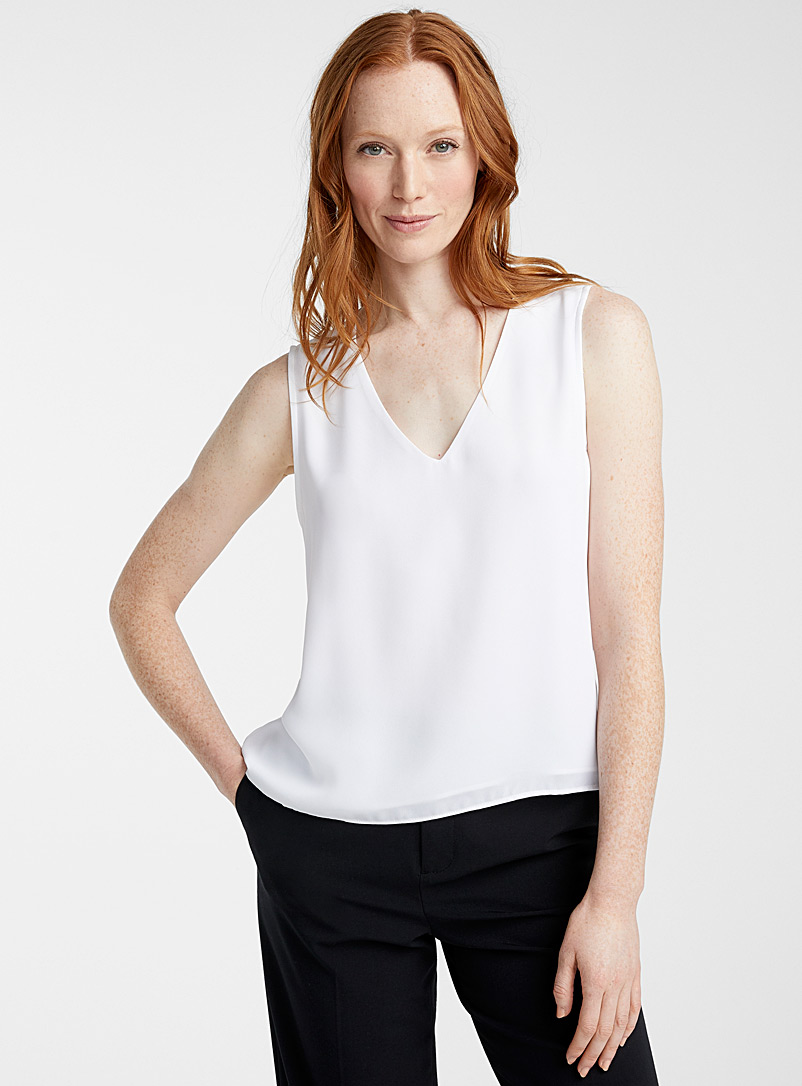 Contemporaine Black Recycled crepe V-neck camisole for women