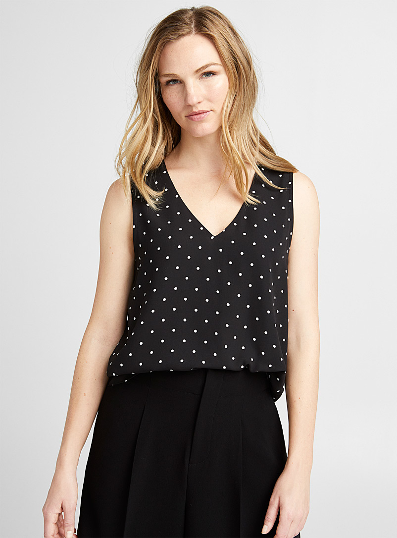 Recycled crepe V-neck cami - Blouses - Black and White