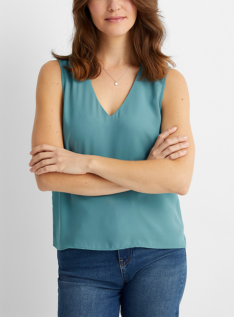 Contemporaine Teal Recycled crepe V-neck camisole for women