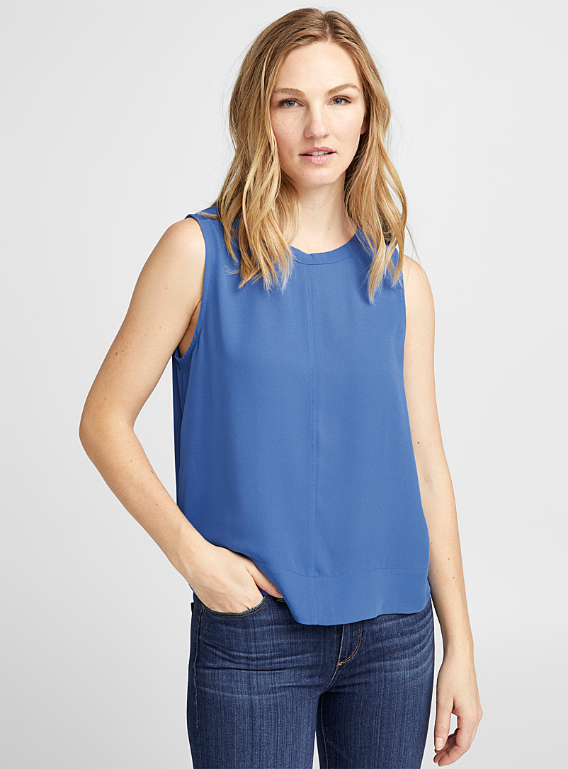Cropped recycled crepe tank top - Blouses - Slate Blue