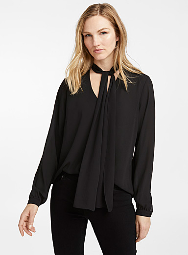 Recycled crepe tie-neck blouse