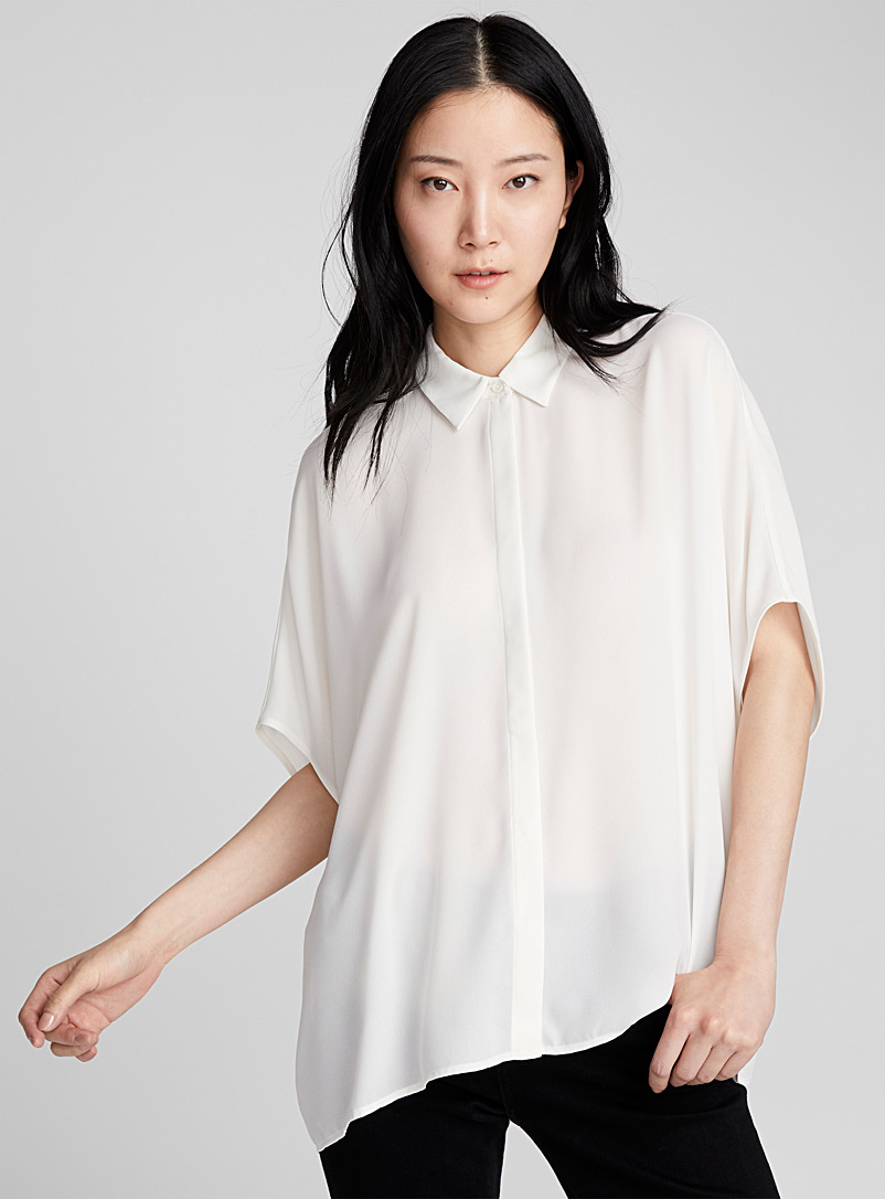 Loose recycled crepe blouse - Shirts - Ivory White