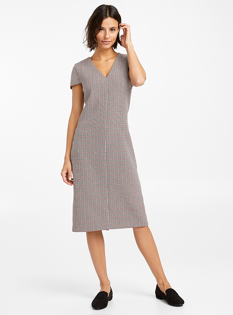 Houndstooth plaid fitted dress - Bodycon - Patterned White