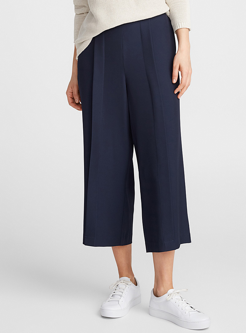 Pleated fluid culottes - Cropped pants