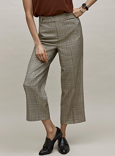 Coffee check wide-leg cropped pant