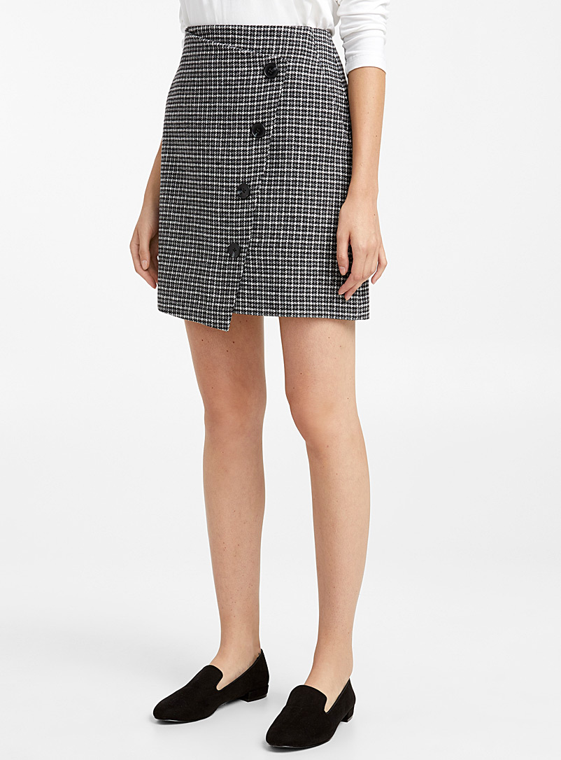 Check wool crossover skirt - Skirts - Patterned Black
