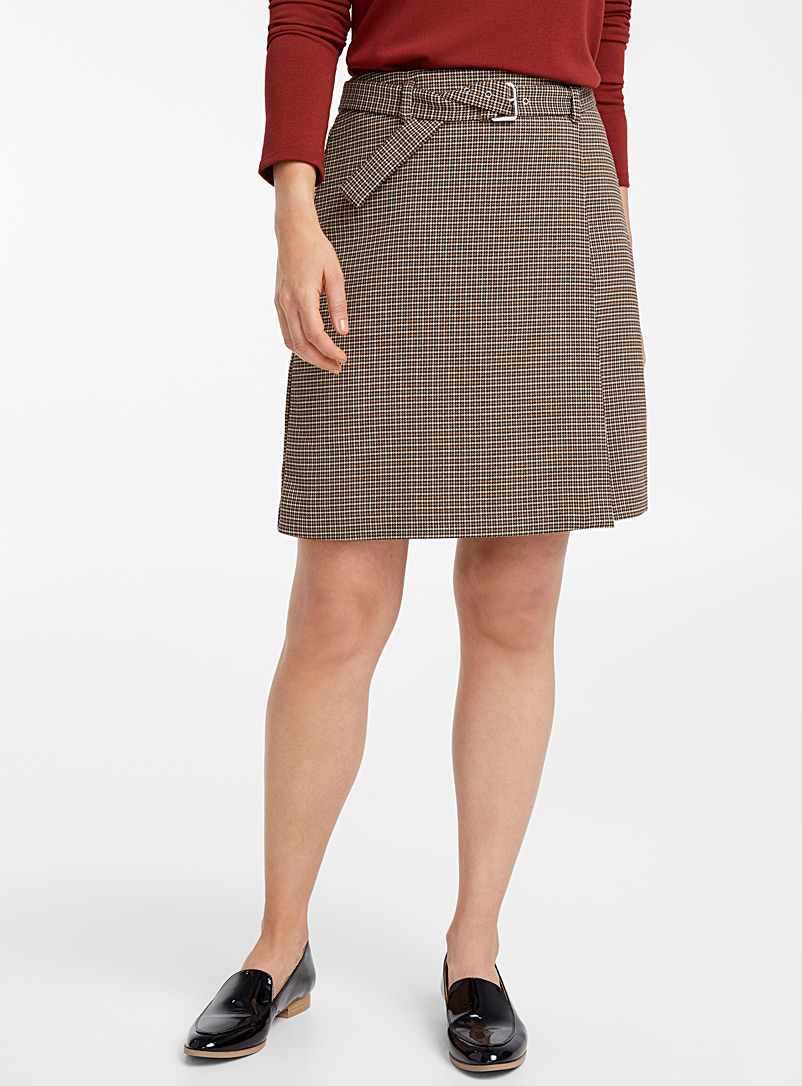Houndstooth plaid belted skirt - Skirts - Patterned Brown