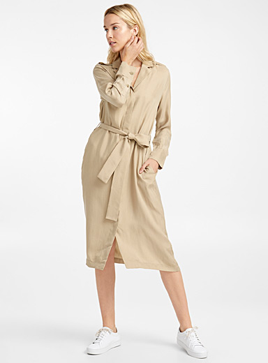 Satiny trench dress