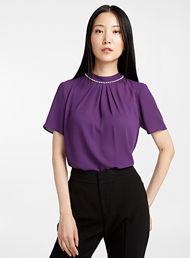 Reycled crepe pearl-neck blouse