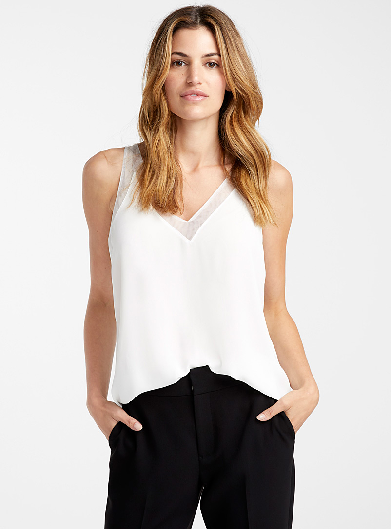 Mesh-trim recycled crepe camisole - Blouses - Ivory White